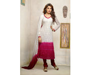 Onlineshoppee White Embroidered Nazneen  Straight  Salwar suit