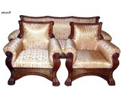 Wooden 5 Seater Sofa Set Brass Inlay