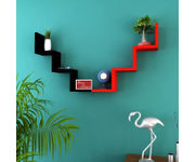 Onlineshoppee Handicraft W Shape Designer  MDF Wall Shelf -  Set Of 2 - Black & Red