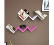Onlineshoppee Handicraft W Shape Designer MDF Wall Shelf - Set Of 2 - Pink & White