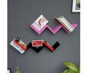 Onlineshoppee Handicraft W Shape Designer MDF Wall Shelf - Set Of 2 - Pink & Black
