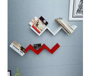 Onlineshoppee Handicraft W Shape Designer MDF Wall Shelf - Set Of 2 - Red & White