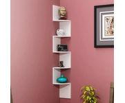 Onlineshoppee Wooden Fancy Zigzag Wall Mount Floating Corner Wall Shelf - White