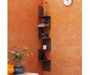 Onlineshoppee Wooden Fancy Zigzag Wall Mount Floating Corner Wall Shelf - Brown