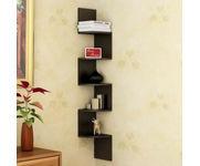 Onlineshoppee Wooden Fancy Zigzag Wall Mount Floating Corner Wall Shelf - Black