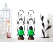 Onlineshoppee Green Wooden, Glass Lantern Size(LxBxH-4.5x4.5x15.25) Inch