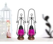 Onlineshoppee Pink Wooden, Glass Lantern Size(LxBxH-4.5x4.5x15.25) Inch Pack Of 2