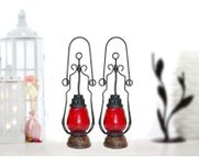 Onlineshoppee Red Wooden, Glass Lantern Size(LxBxH-4.5x4.5x15.25) Inch Pack Of 2