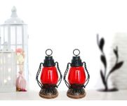 Onlineshoppee Red Wooden, Glass Lantern Size(LxBxH-4.5x4.5x8.5) Inch Pack Of 2
