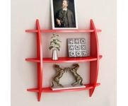 Onlineshoppee Beautiful Red 3 Tier MDF Wall Shelves/Rack Size(LxBxH-20x4x19) Inch - Red