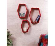 Onlineshoppee  Set Of 3 Hexagon shape Designer Storage Shelves - Red Size-lxbxh-10.5x4x10.5 Inch