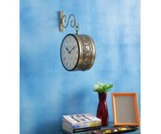 Onlineshoppee Iron Wall Hanging Vintage Style Station Clock Double Sided  Size(LxBxH-11x4x13) Inch