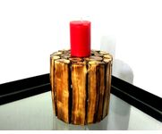 Onlineshoppee Wooden Antique Tea light Holder Round Shape