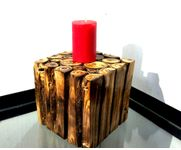 Onlineshoppee Wooden Antique Tea light Holder Square Shape Size-LxBxH-6x6x6 Inch