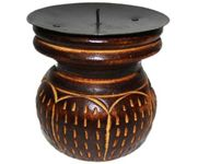 Onlineshoppee Wooden Antique Tea light Holder  Size-LxBxH-4x4x4 Inch