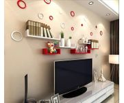 Onlineshoppee MDF Handicraft Wall Decor U-shaped Designer Wall Shelf Pack of 6 -  Red & White