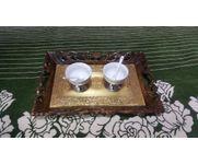 Onlineshoppee Fancy Design Kitchen Ware Sheesam Wood In Engraved Wood Tray Size(LxBxH-16x11x2) Inch