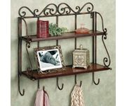 Onlineshoppee Home Decor 2 Shelf Book/ Kitchen Rack With Cloth/Key Hanger Size -lxbxh-15x5x20 inch