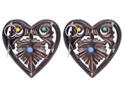 Onlineshoppee Wooden Key Holder In Heart Shape With Handicraft Design,Pack Of 2