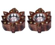 Onlineshoppee Wooden Antique Hand Carved Ashtray With Leaf Design,Pack Of 2