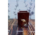 OnlineShoppee Premium Wooden  Pen holder With Elephent Brass  Design