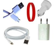 Onlineshoppee  iPhone 5S Lightning, V8 Data Cable With Dual Port Car Charger And Power Adapter Set Accessory Combo