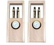 Onlineshoppee Brown Wooden Handicrafts Showpiece Pen Stand With Clock,Pack Of 2