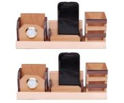 Onlineshoppee Beautiful Big Multipurpose Wooden Pen,Mobile and Visiting Card holder With Watch,Pack Of 2