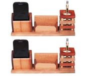 Onlineshoppee Beautiful Multipurpose Wooden Pen,Mobile and Visiting Card holder,Pack Of 2