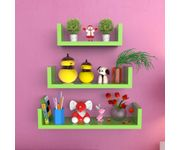Onlineshoppee MDF Handicraft Wall Decor U-shaped Designer Wall Shelf Pack of 3 - Green