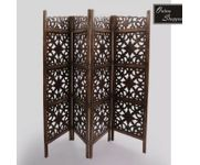 Onlineshoppee Brown Wooden Partition Screen Room Divider In 4 Panel