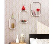 Onlineshoppee  Wooden Handicraft  Fancy 3 Pcs  Octagon Shaped  Wall Shelf