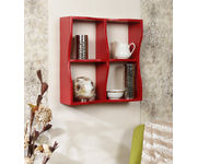 Onlineshoppee Wooden Handicraft  Four compartments  Designer  Wooden Wall Shelf