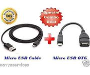 Onlineshoppee Combo of Micro USB Charge Sync Data transfer Cable and Micro USB OTG Cable