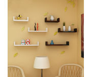Onlineshoppee Wooden Handicraft Wall Decor  Designer Wall Shelf Pack of 6 - Black & White