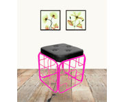 Onlineshoppee Iron & Cushion Stool/Table Size(LxBxH-13x13x14) Inch