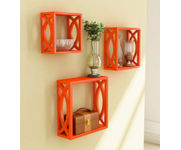 Onlineshoppee Square Nesting MDF Wall Shelf Size(LxBxH-10x4x10) Inch Color- Orange