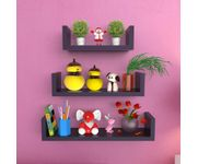 Onlineshoppee MDF Handicraft Wall Decor U-shaped Designer Wall Shelf Pack of 3 - Black