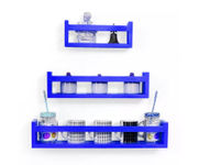 Onlineshoppee  MDF Wall Decor  Multipurpose Wall Shelf with 3 Shelves Colour - Blue)