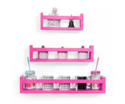Onlineshoppee  MDF Wall Decor  Multipurpose Wall Shelf with 3 Shelves Colour - Pink)