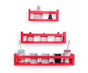Onlineshoppee  MDF Wall Decor  Multipurpose Wall Shelf with 3 Shelves Colour - Red)