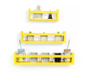 Onlineshoppee  MDF Wall Decor  Multipurpose Wall Shelf with 3 Shelves Colour - Yellow)