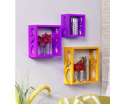 Onlineshoppee Square Nesting MDF Wall Shelf Size(LxBxH-10x4x10) Inch -  Purple & Yellow