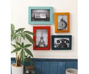 Onlineshoppee Multicolour Mango Wood 4-piece Photo Frame Collage