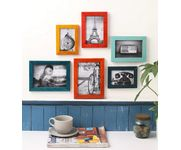 Onlineshoppee Multicolour Mango Wood 6-piece Photo Frame Collage