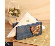 Onlineshoppee Butterfly Engraved Block Napkin Holder Blue