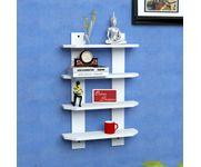 Onlineshoppee  Floating  MDF 4 Shelf Ladder Shape Wall Shelves  - White