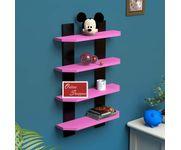 Onlineshoppee  Floating  MDF 4 Shelf Ladder Shape Wall Shelves  - Pink & Black