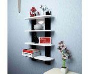 Onlineshoppee  Floating  MDF 4 Shelf Ladder Shape Wall Shelves  - White  & Black