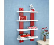 Onlineshoppee  Floating  MDF 4 Shelf Ladder Shape Wall Shelves  - White  & Red